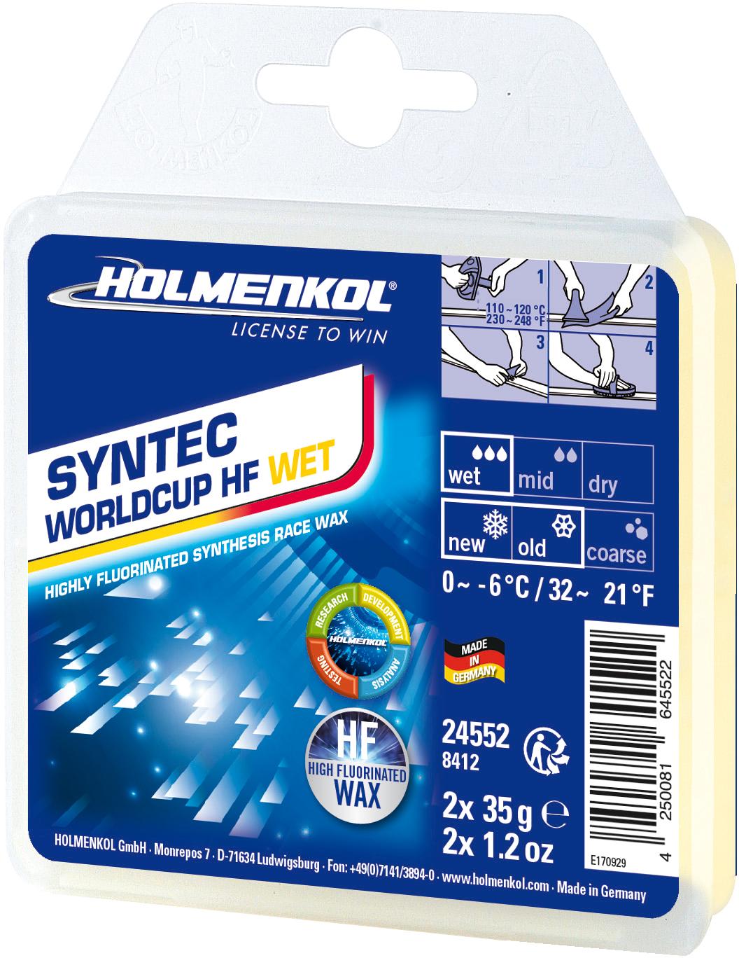 Holmenkol Мазь скольжения твердая для лыж и сноубордов HOLMENKOL Syntec WorldCup HF WET