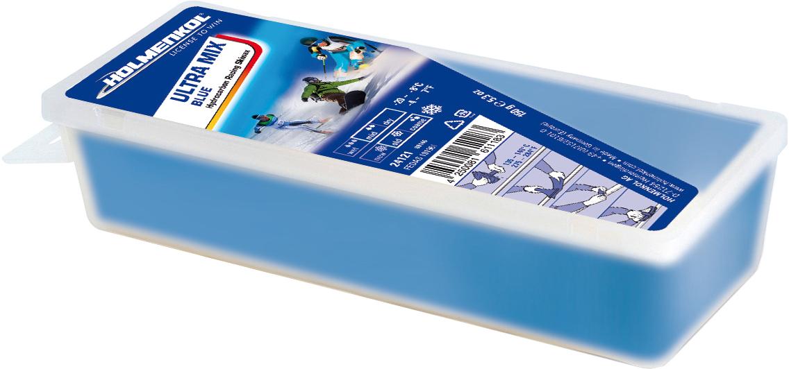 Holmenkol Мазь скольжения твердая для лыж и сноубордов HOLMENKOL Ultra Mix Blue