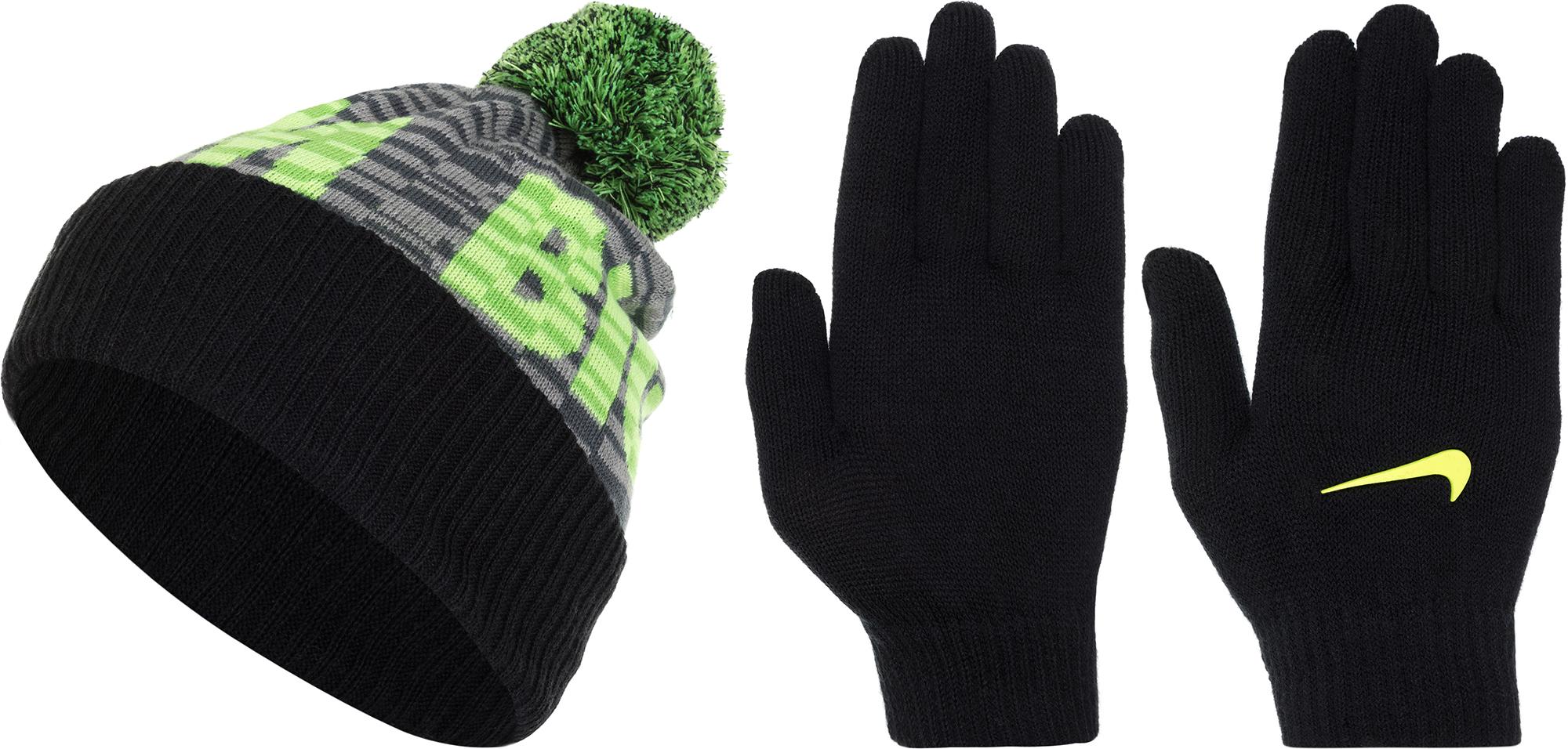 Nike Комплект для мальчиков: шапка и перчатки Nike, размер Без размера шапки и кепки для туризма и кемпинга nike 688510 2015 584169 010