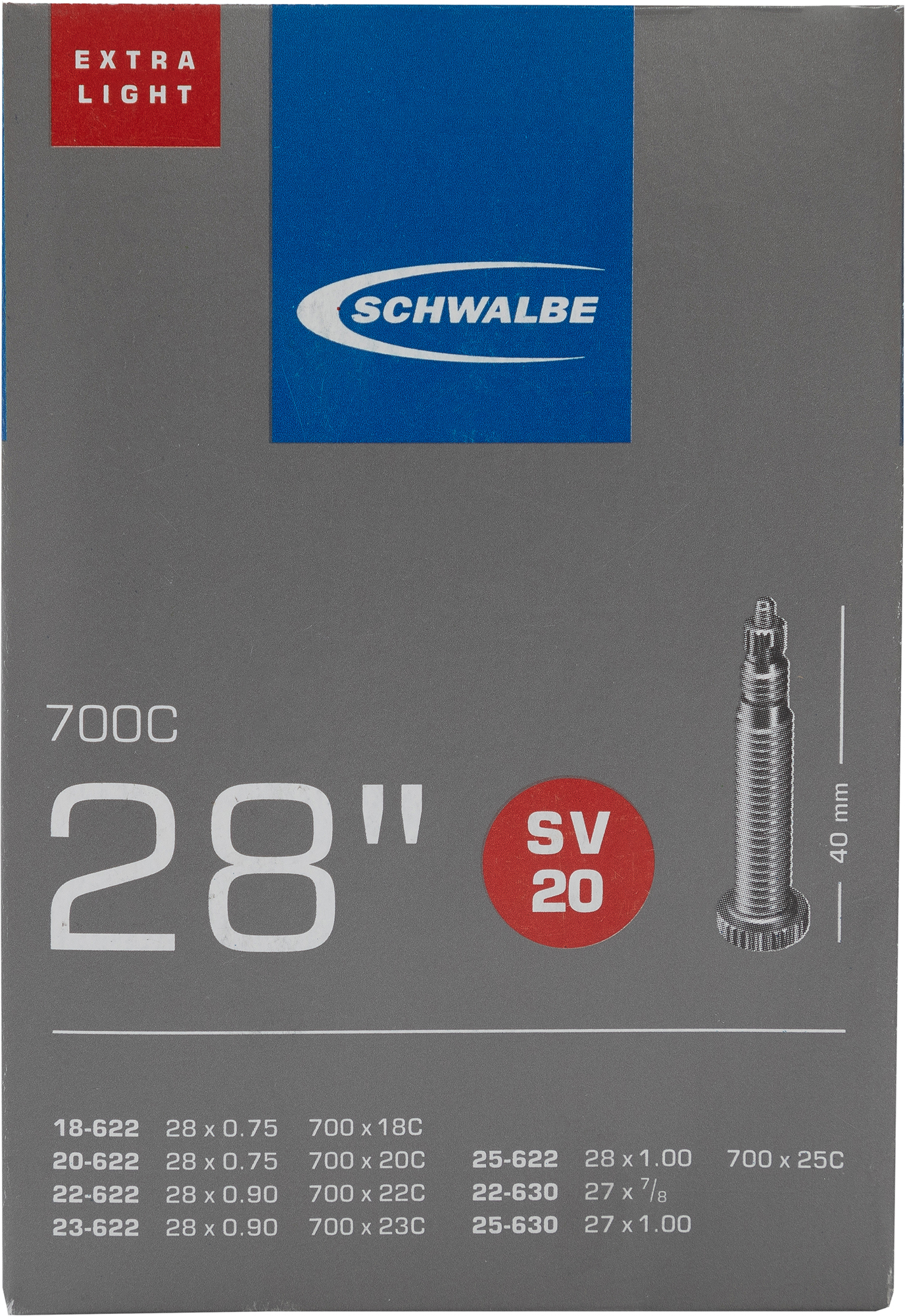 цена на Schwalbe Камера Schwalbe SV20 EXTRA LIGHT 40mm 28