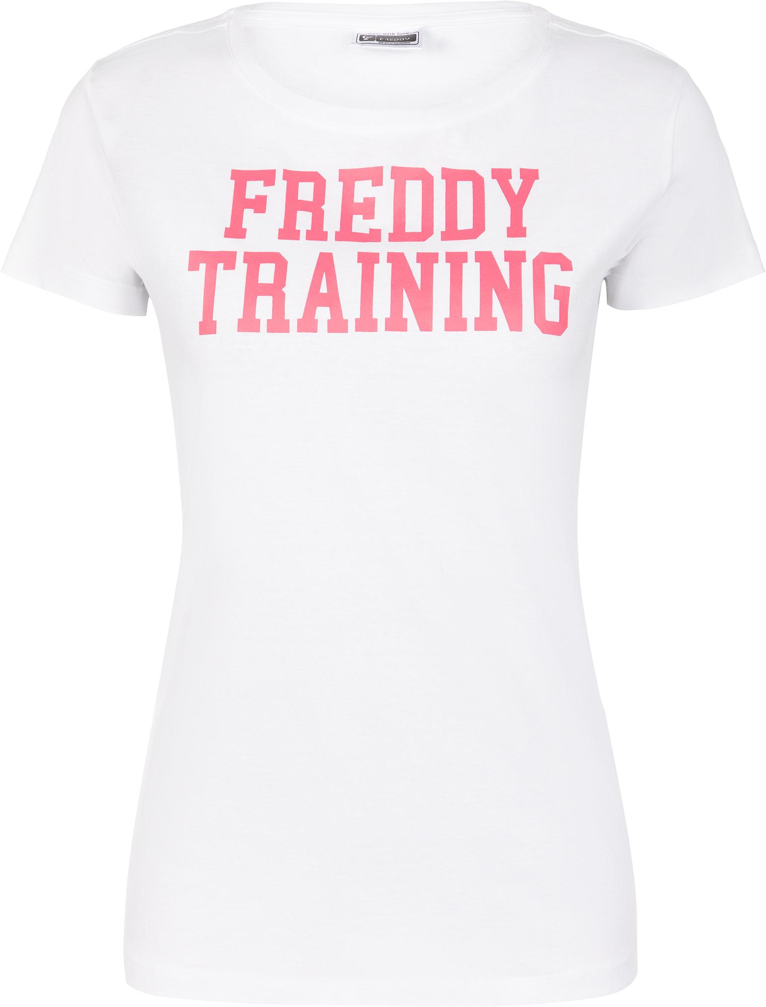футболка женская oodji ultra цвет бежево розовый 14701005 7b 46147 4b00n размер s 44 Freddy Футболка женская Freddy, размер 44-46