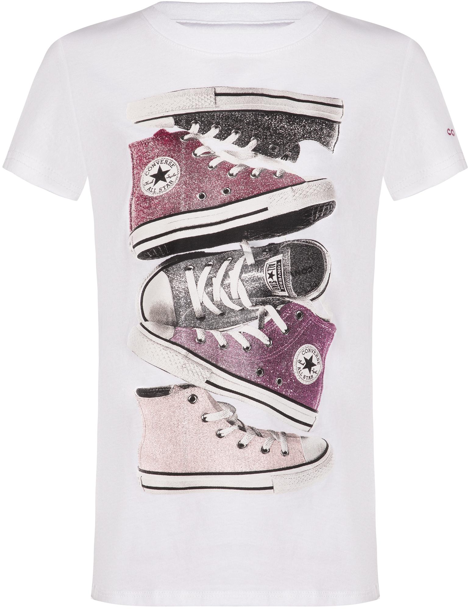 Фото - Converse Футболка для девочек Converse Shiny Sneaker Stack Tee, размер 140 футболка converse tilted star chevron tee