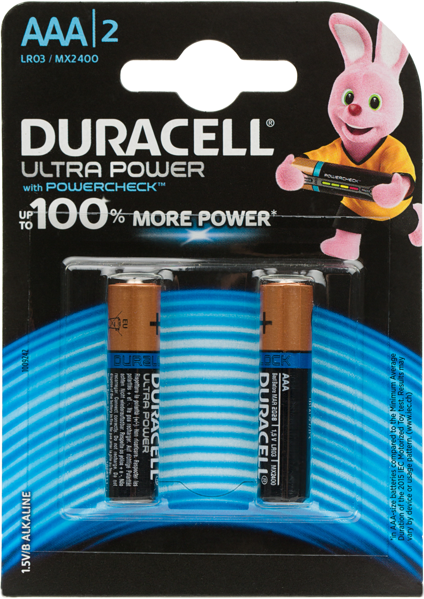 Duracell Батарейки щелочные Ultra Power ААА/LR03, 2 шт.