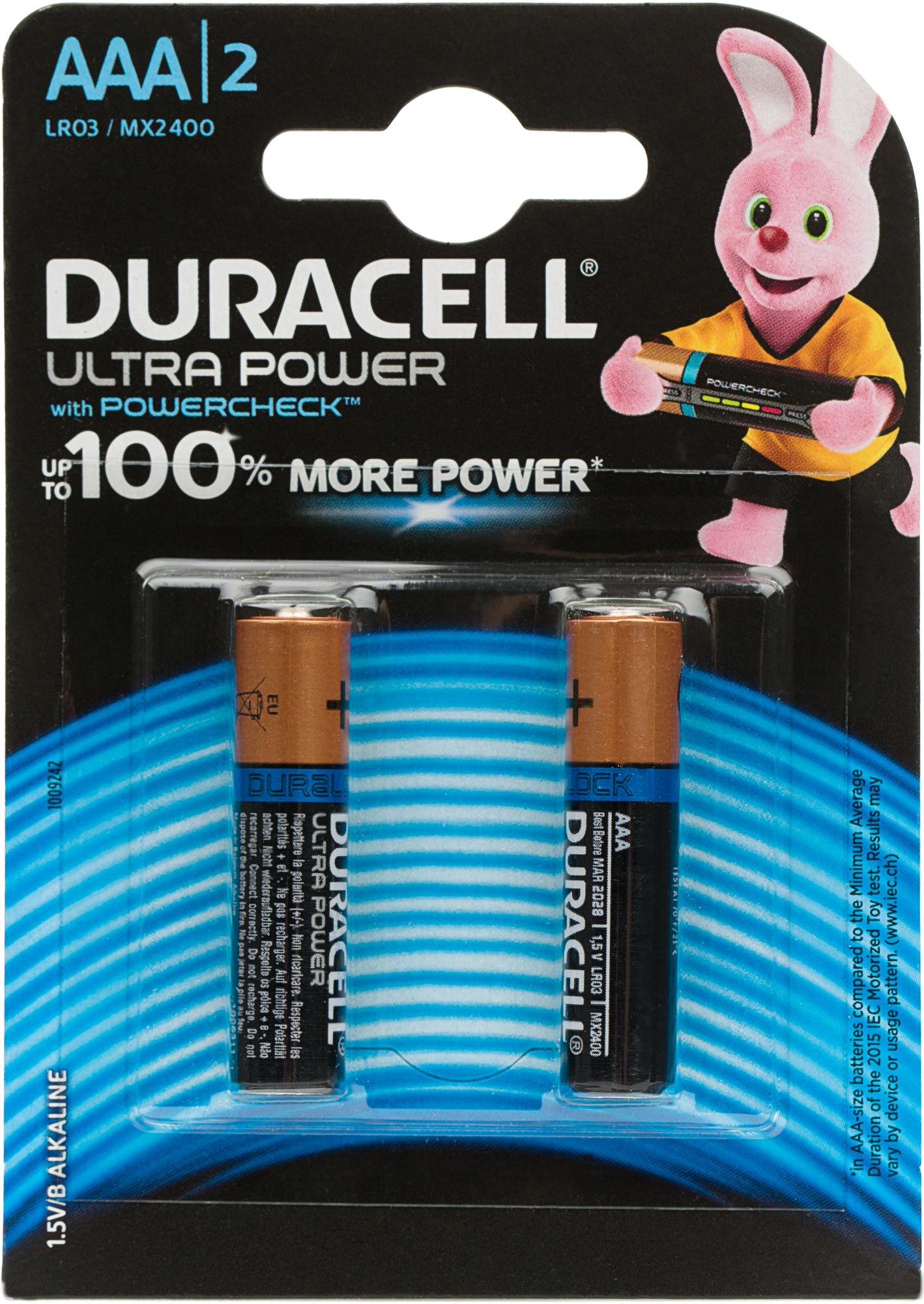 Duracell Батарейки щелочные Duracell Ultra Power ААА/LR03, 2 шт. цена