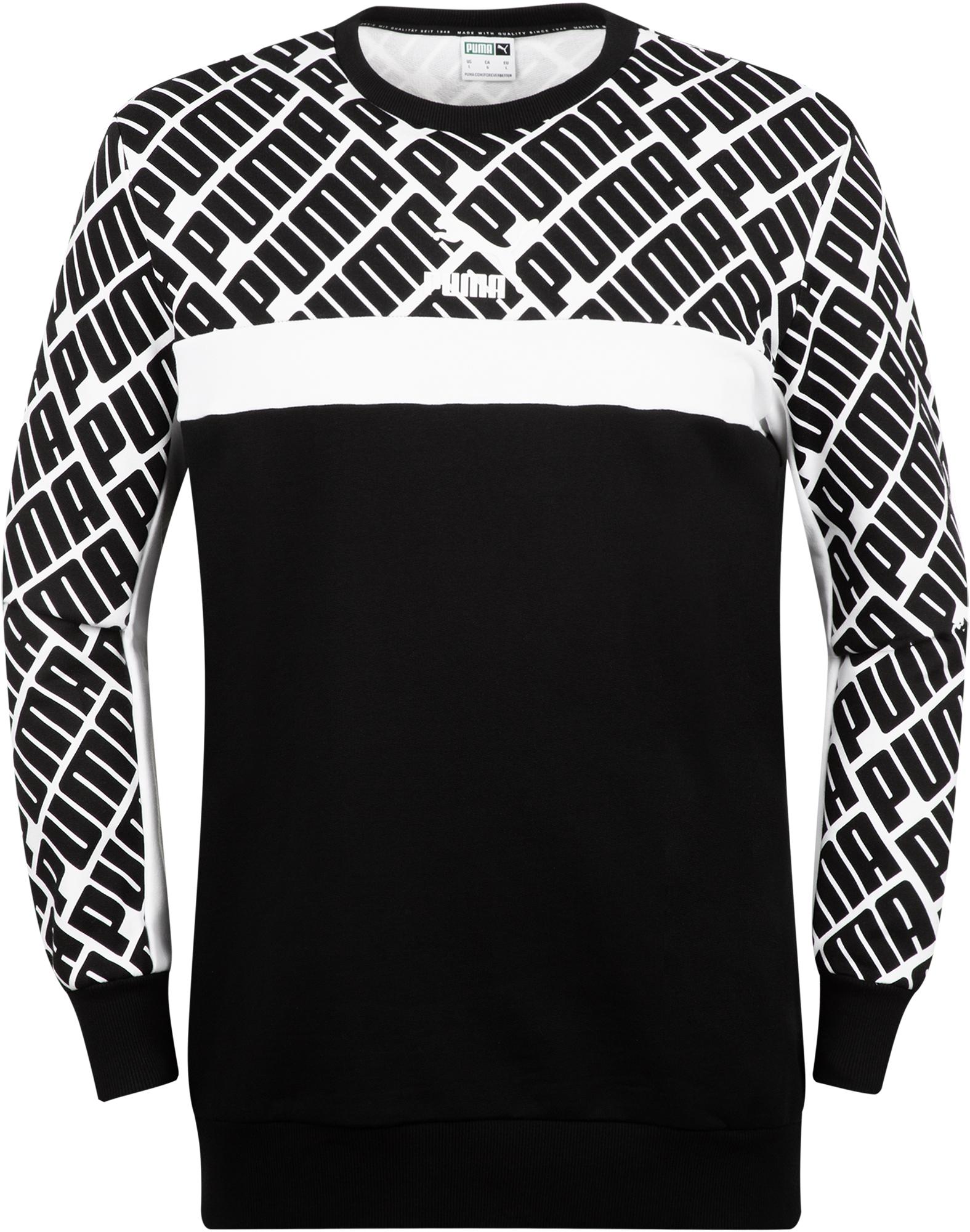 цена Puma Свитшот мужской Puma AOP Logo Crew, размер 50-52 онлайн в 2017 году