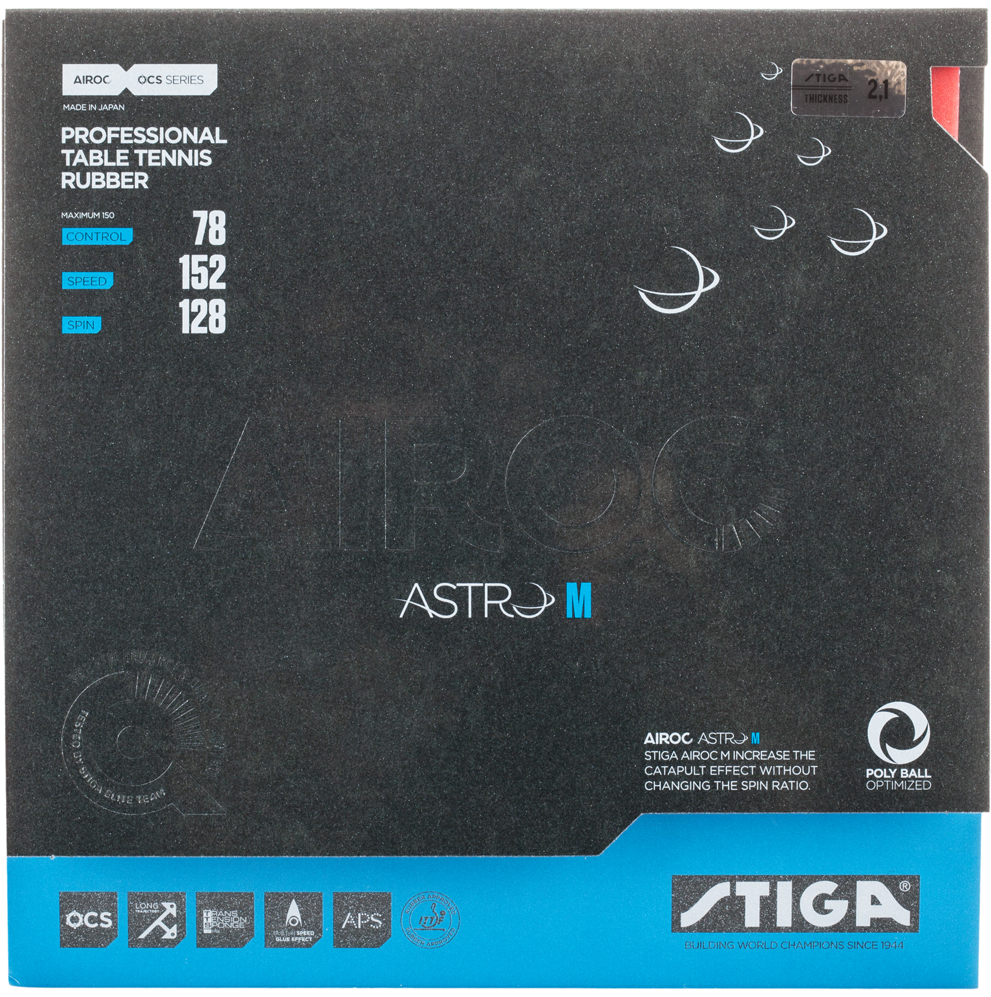 Stiga Накладка Stiga Airoc Astro M 2,1 мм, размер Без размера stiga накладка stiga jms evo 1