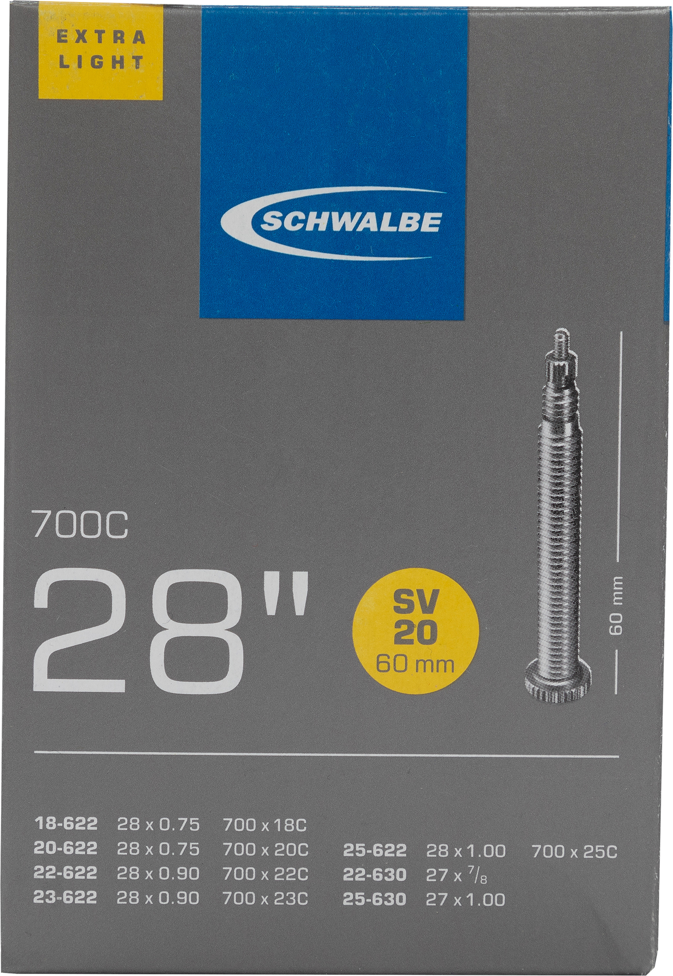 Schwalbe Камера SV20 EXTRA LIGHT 60mm 28