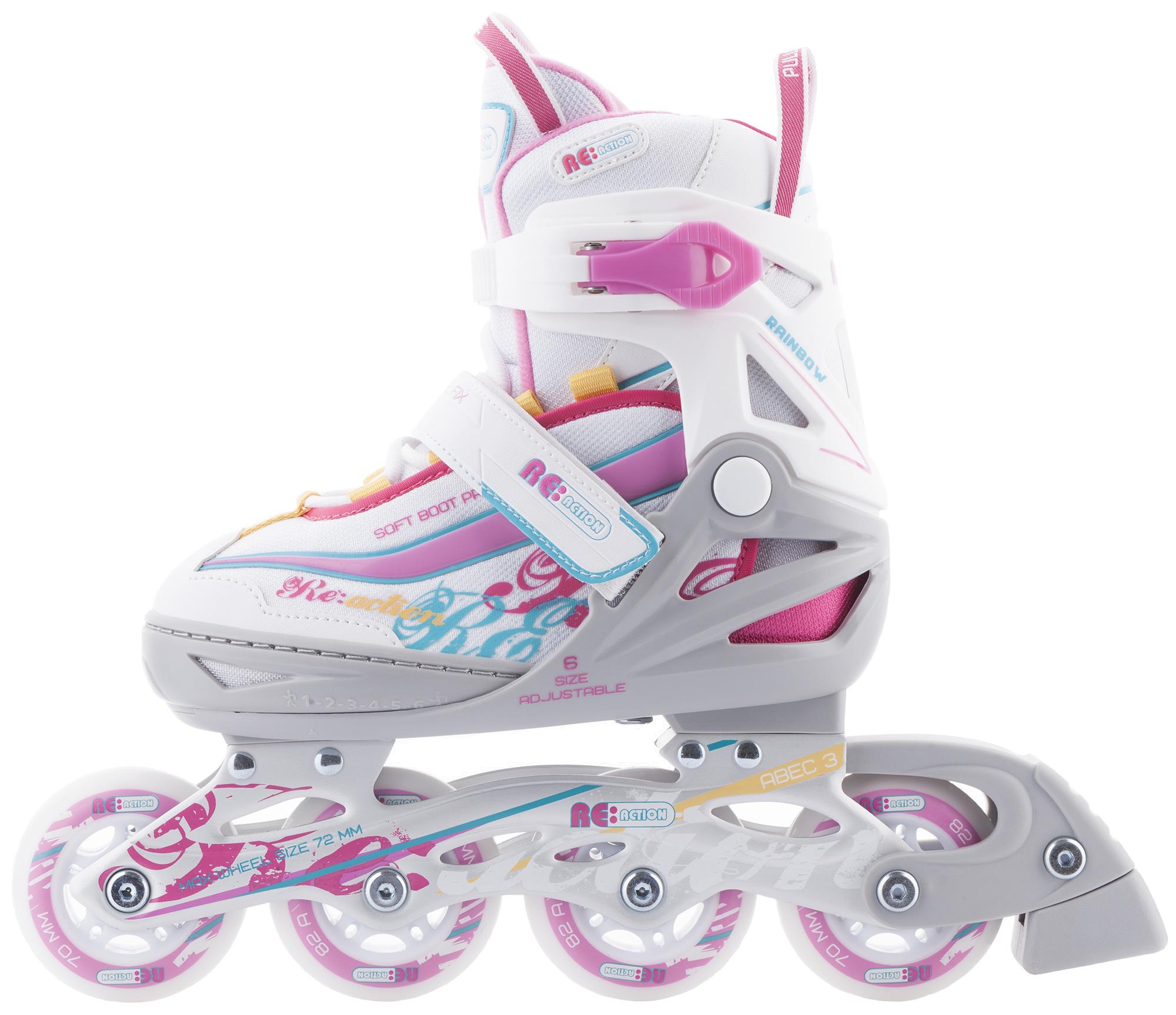 REACTION Роликовые коньки раздвижные для девочек REACTION Rainbow роликовые коньки детские раздвижные fila wizy купить