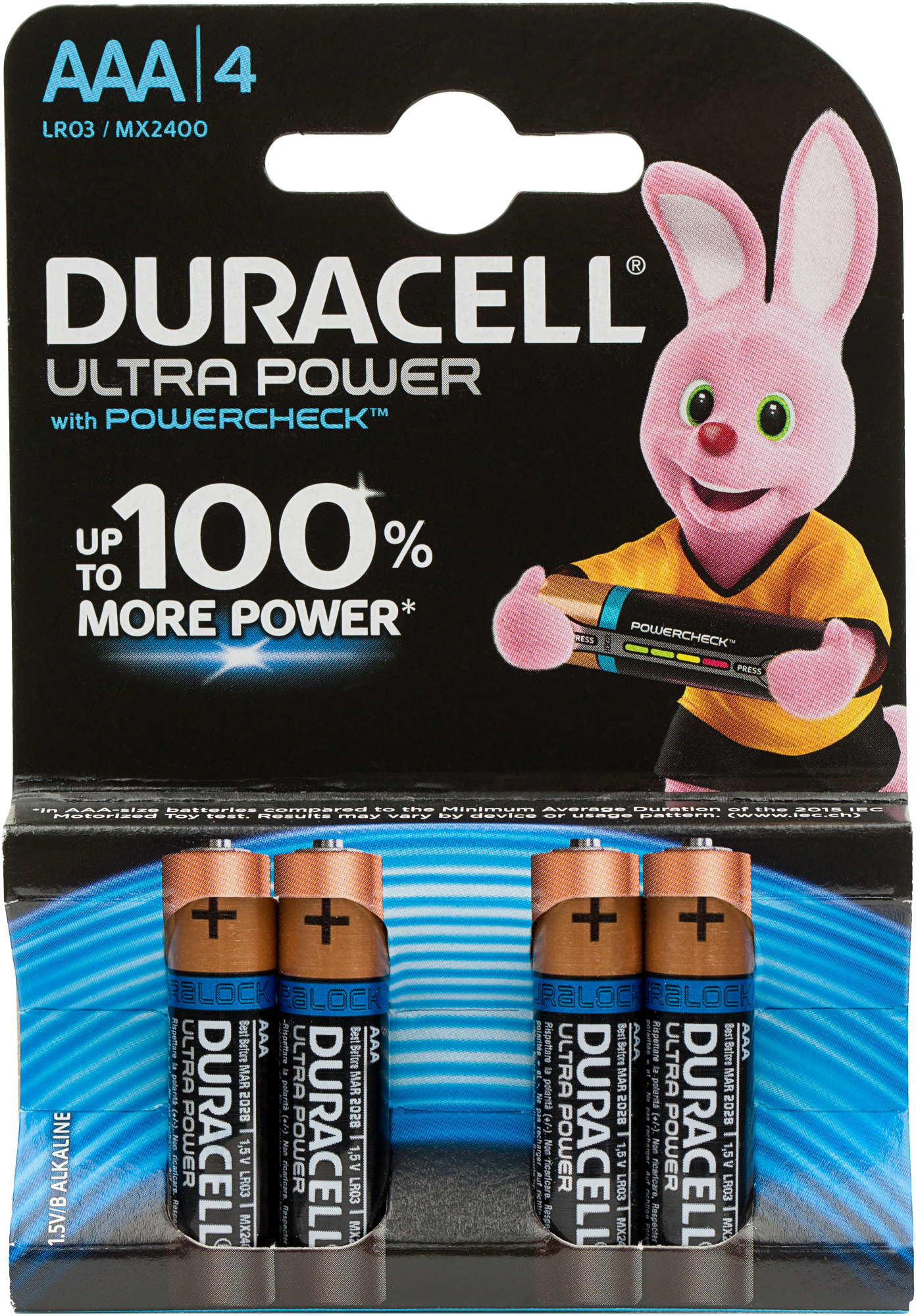 Duracell Батарейки щелочные Ultra Power ААА/LR03, 4 шт.