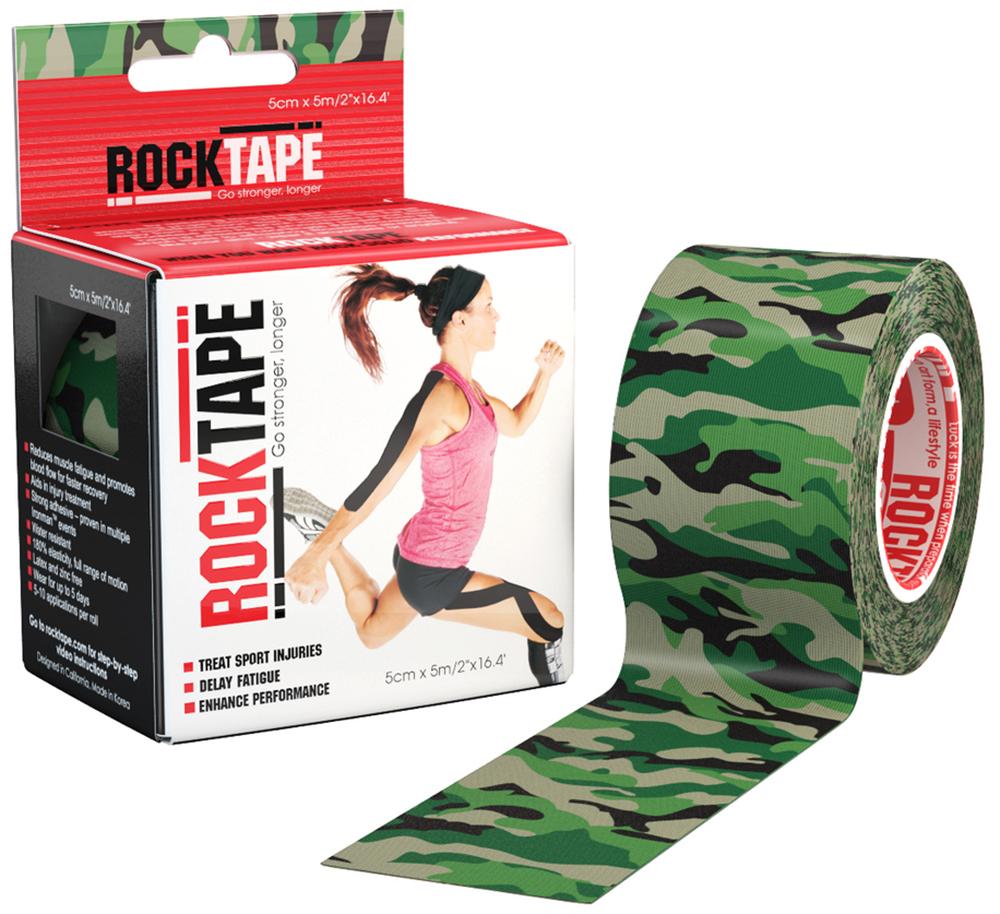 RockTape Кинезио-тейп 5 см х м, зеленый камуфляж