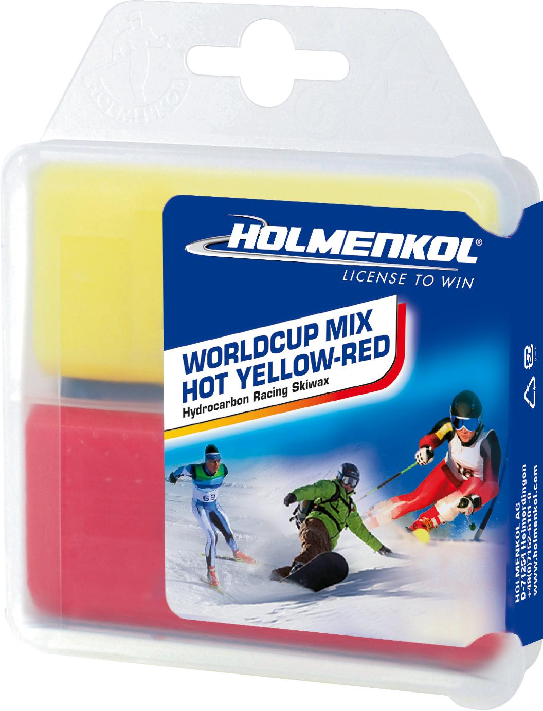 Holmenkol Мазь скольжения твердая для лыж и сноубордов HOLMENKOL Worldcup Mix HOT Yellow-Red парафин holmenkol holmenkol betamix красный