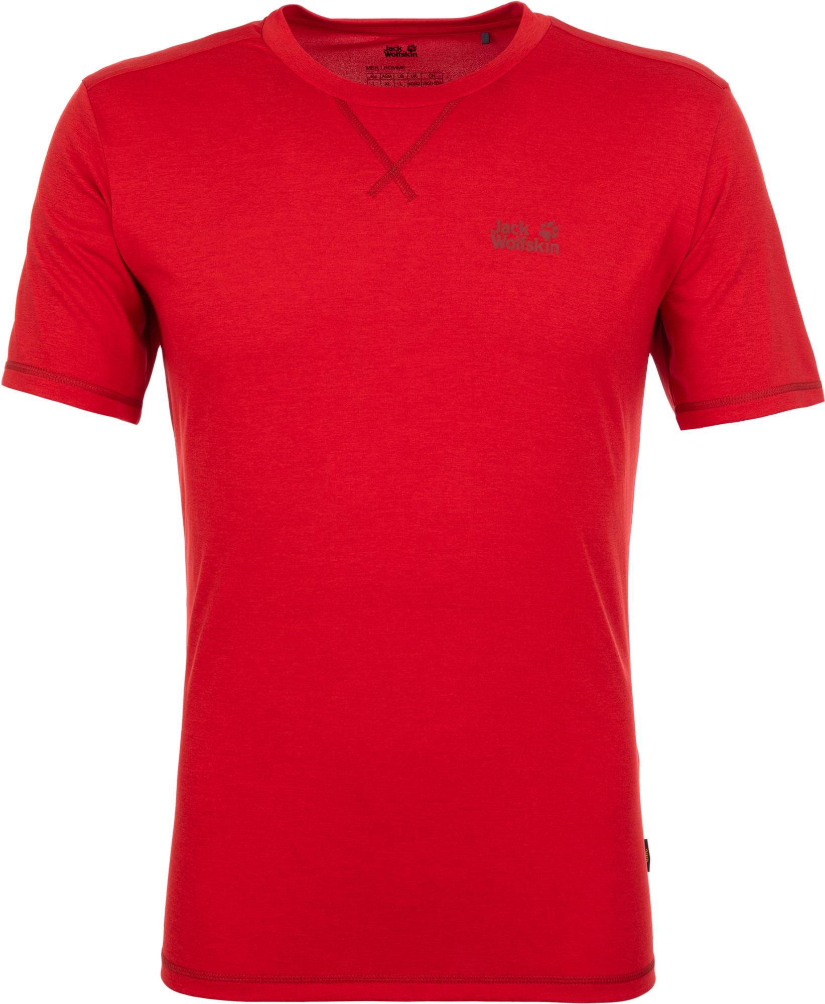 Jack Wolfskin Футболка мужская JACK WOLFSKIN Crosstrail, размер 46-48 футболка для мальчика jack wolfskin brand t boys цвет темно голубой 1607241 1087 размер 176 182