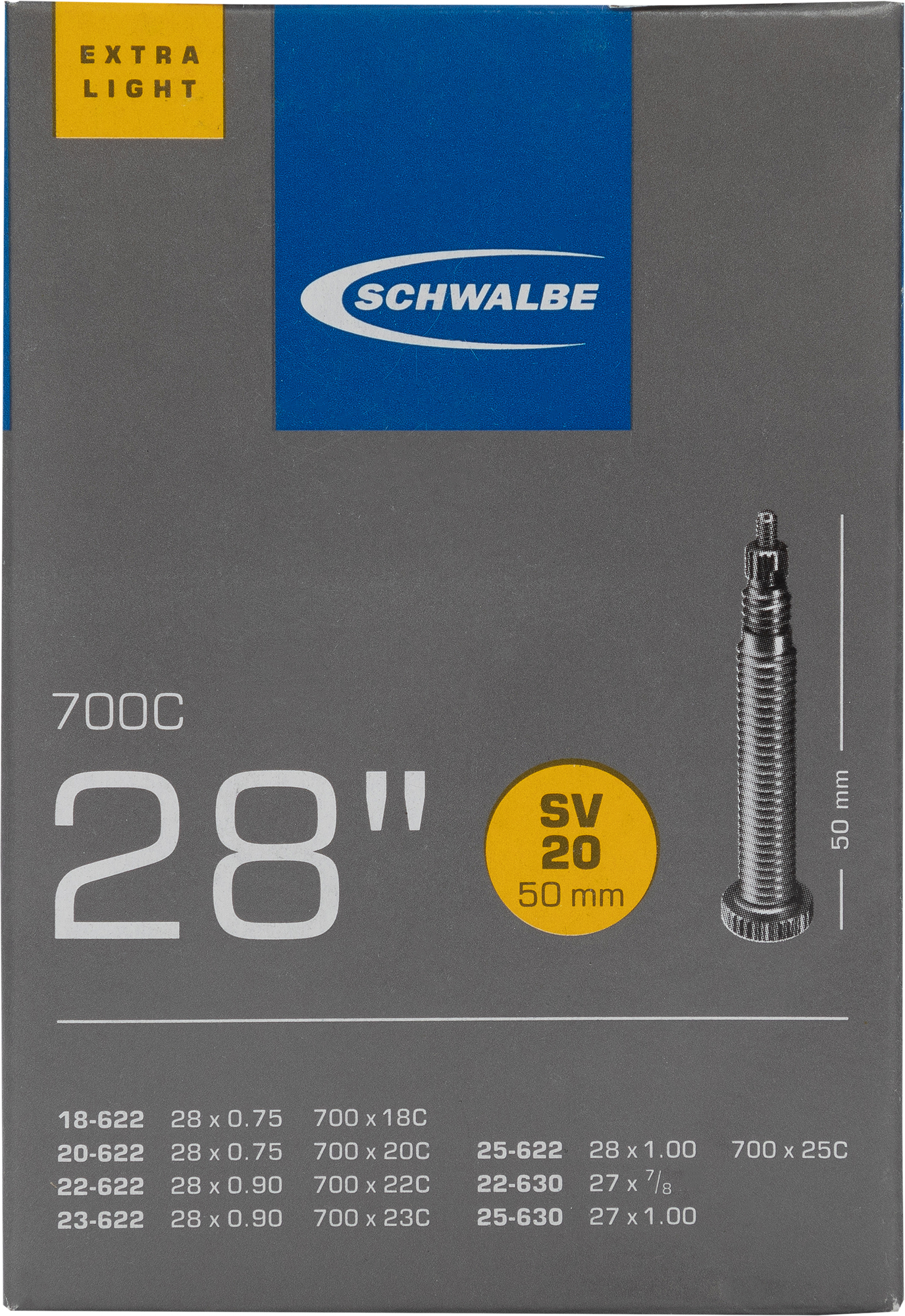 Schwalbe Камера Schwalbe SV20 EXTRA LIGHT 50mm 28