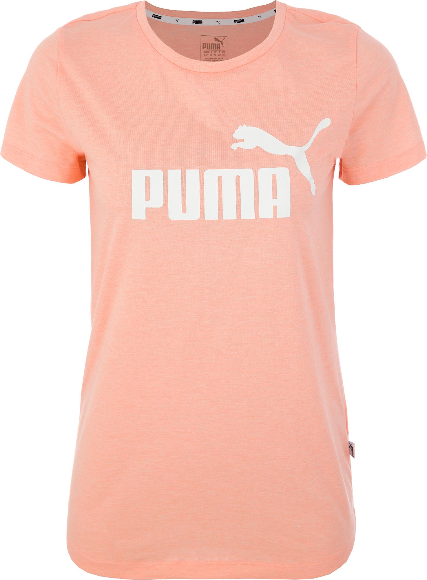 Puma Футболка женская Puma ESS+ Logo Heather Tee, размер 48-50 футболка женская puma evo tee цвет персиковый 57511231 размер m 44 46