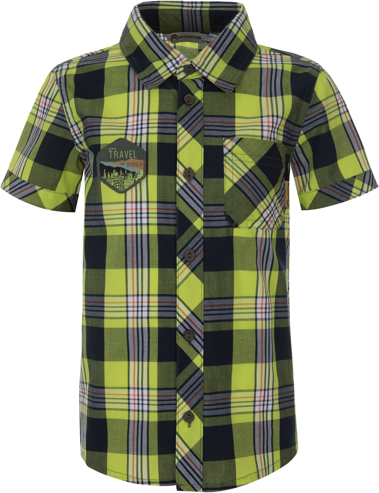 Outventure Рубашка с коротким рукавом для мальчиков Outventure, размер 104 мужская рубашка с коротким рукавом белый