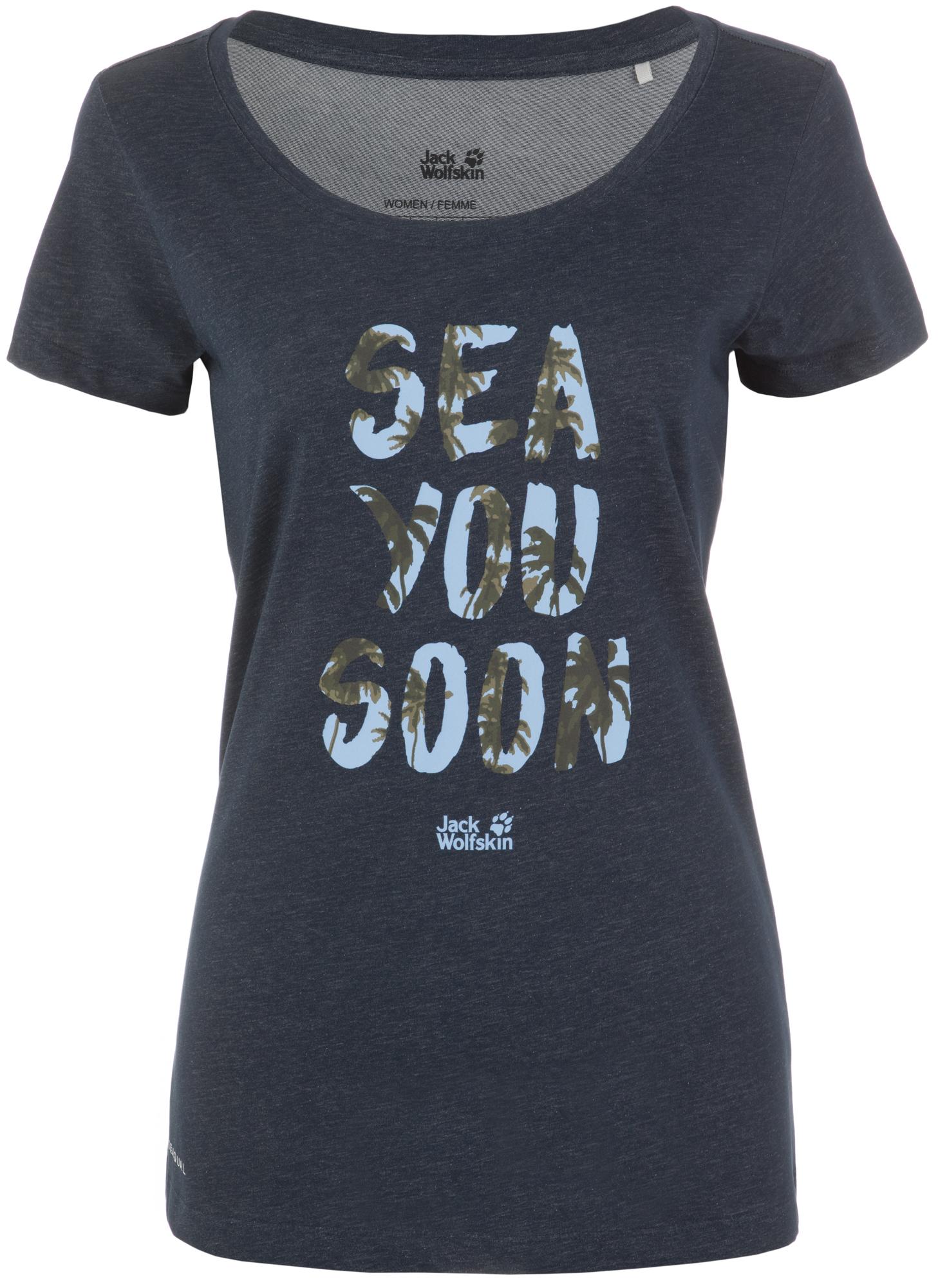 JACK WOLFSKIN Футболка женская Jack Wolfskin Sea You Soon, размер 52-54 футболка jack