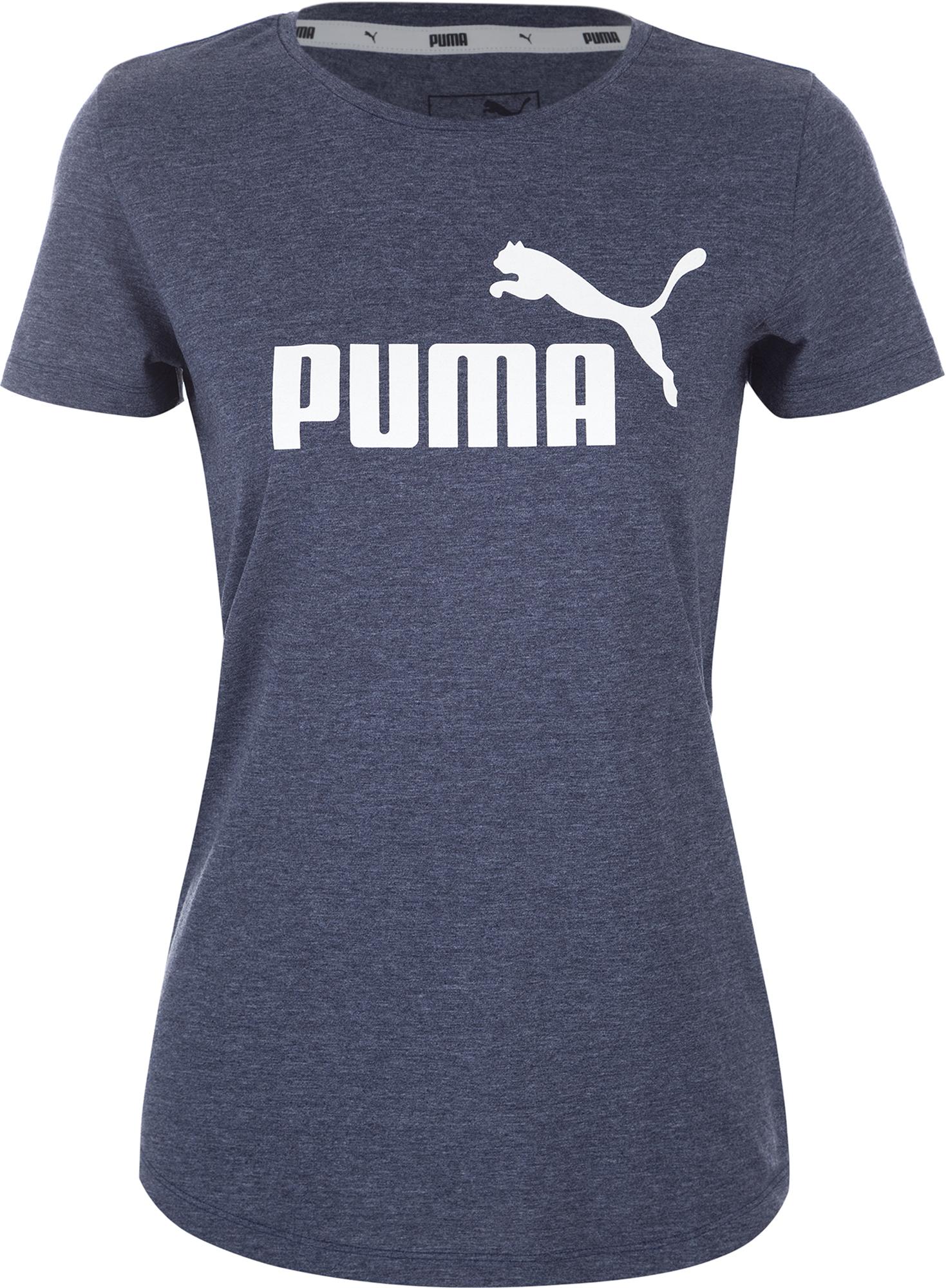 Puma Футболка женская Puma Ess+ Logo Heather Tee, размер 46-48 футболка женская puma evo tee цвет персиковый 57511231 размер m 44 46