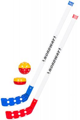 Набор клюшек хоккейных детских NordwayНабор из двух пластиковых детских клюшек с шайбой и мячом для тренировок. Облегченная конструкция подходит для детей до 5 лет.<br>Длина клюшки: 65 см; Жесткость: Нет; Материал крюка: Пластик; Материал рукоятки: Пластик; Вес, кг: 0,290; Возраст: Дети; Уровень подготовки: Средний; Вид спорта: Хоккей; Производитель: Nordway; Артикул производителя: HSSY-00; Срок гарантии: 14 дней; Страна производства: Россия; Размер RU: нейтральный;