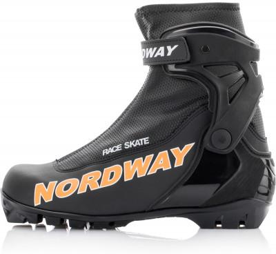 Ботинки для беговых лыж Nordway Race SkateКоньковые лыжные ботинки с утеплителем thinsulate, жесткой подошвой stiff и улучшенной анатомической колодкой. Модель рекомендована экспертам и продвинутым любителям.<br>Сезон: 2016/2017; Назначение: Спорт; Стиль катания: Коньковый; Уровень подготовки: Продвинутый; Пол: Мужской; Возраст: Взрослые; Вид спорта: Беговые лыжи; Система креплений: NNN; Утеплитель: Thinsulate; Форма колодки: Анатомическая колодка Biometric; Система шнуровки: Закрытая; Технологии: Biometric, Froztex, Race Cuff, Snow Guard, Thinsulate; Производитель: Nordway; Артикул производителя: 16RCSKB43; Срок гарантии: 1 год; Страна производства: Россия; Размер RU: 43;