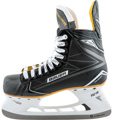 Коньки хоккейные Bauer Supreme S160Хоккейные коньки от bauer линии supreme. Модель рассчитана на широкий круг любителей хоккея.<br>Раздвижной ботинок: Нет; Термоформируемый ботинок: Да; Материал ботинка: Технический полиуретан; Материал подкладки: Влага впитывающая Microfiber; Материал лезвия: Нержавеющая сталь; Анатомический ботинок: Да; Широкая колодка: Нет; Тип фиксации: Шнурки; Усиленный ботинок: Нет; Поддержка голеностопа: Есть; Ударопрочный мыс: Да; Морозоустойчивый стакан: Да; Анатомическая стелька: Есть; Усиленный язык: Есть; Анатомические вкладыши: Есть; Съемный внутренний ботинок: Нет; Материал подошвы: Облегченный жесткий пластик TPU; Заводская заточка: Нет; Утепленный ботинок: Нет; Сезон: 2017; Пол: Мужской; Возраст: Взрослые; Вид спорта: Хоккей; Уровень подготовки: Средний; Технологии: 3-D reinforced Trueform tech PU, Hydrophobic microfiber, TUUK LIGHTSPEED EDGE, anatomical heel support; Производитель: Bauer; Артикул производителя: 1048619-D; Срок гарантии: 3 года; Страна производства: Таиланд; Размер RU: 42;