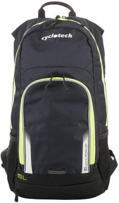 Рюкзак велосипедный CyclotechРюкзак, оснащенный специальными спортивными лямками и отсеком для питьевой системы с возможностью провода шланга на лямку рюкзака.<br>Крепление для шлема: Есть; Объем: 15 л; Чехол от дождя: Есть; Размеры (дл х шир х выс), см: 47 x 30 x 19; Материалы: 100 % полиэстер; Вид спорта: Велоспорт; Производитель: Cyclotech; Артикул производителя: CYC-15.; Страна производства: Китай; Размер RU: Без размера;