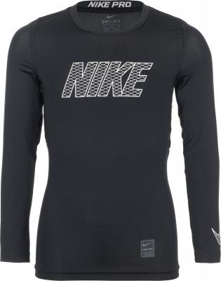 Футболка с длинным рукавом для мальчиков Nike ProФункциональная футболка с длинными рукавами от nike - отличный вариант для занятий бегом. Отведение влаги ткань с технологией nike dri-fit для комфорта и отведения влаги.<br>Пол: Мужской; Возраст: Дети; Вид спорта: Бег; Покрой: Приталенный; Материалы: 92 % полиэстер, 8 % эластан; Технологии: Nike Dri-FIT; Производитель: Nike; Артикул производителя: 858232-010; Страна производства: Шри-Ланка; Размер RU: 158-170;