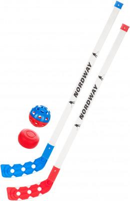 Набор клюшек хоккейных детских Nordway KHSНабор из 2-х пластиковых детских клюшек с шайбой и мячом для тренировок. Облегченная конструкция для детей до 5 лет. Конструкция формы повторяет профессиональные клюшки.<br>Длина клюшки: 67 см; Материал крюка: Пластик; Материал рукоятки: Пластик; Возраст: Дети; Вид спорта: Хоккей; Уровень подготовки: Начинающий; Производитель: Nordway; Артикул производителя: KHS; Страна производства: Китай; Размер RU: нейтральный;