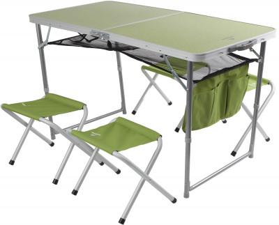Набор Outventure: стол + 4 стулаУдобный вариант мебели для кемпинга. Удобство хранения и транспортировки складная конструкция стола и стульев идеальна для транспортировки: стулья убираются в стол.<br>Максимальная нагрузка, кг: Стол - до 30 кг, стулья - до 100 кг; Размер в рабочем состоянии (дл. х шир. х выс), см: Стол: 120 х 60 х 70, стул: 41 х 29 х 34; Размер в сложенном виде (дл. х шир. х выс), см: 65 x 18 x 64; Материал каркаса: Стол - сталь, стулья - алюминий; Материал столешницы (для столов): МДФ; Материал сидушки: Полиэстер; Вес, кг: 7,6; Вид спорта: Кемпинг; Производитель: Outventure; Артикул производителя: IE418G2; Срок гарантии: 2 года; Страна производства: Китай; Размер RU: Без размера;