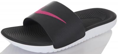 Шлепанцы женские Nike Kawa SlideШлепанцы nike kawa slide подойдут для занятий в бассейне. Легкость легкая и прочная стелька выполнена из пеноматериала phylon.<br>Пол: Женский; Возраст: Взрослые; Вид спорта: Плавание; Материал верха: 95 % пластик, 5 % текстиль; Материал подкладки: 100 % текстиль; Материал подошвы: 100 % пластик; Производитель: Nike; Артикул производителя: 834588-060; Страна производства: Индонезия; Размер RU: 34,5;