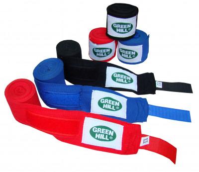 Бинт Green Hill, 2,5 м, 2 шт.Эластичный бинт из стопроцентного полиэстера, который крепится при помощи застежки-липучки. В комплекте 2 бинта размером 2, 5 м. Цвета: красный, синий, черный.<br>Материалы: 100 % полиэстер; Вид спорта: Бокс, ММА; Производитель: Green Hill; Артикул производителя: BP-6232; Размер RU: 2,5 м;
