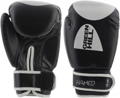 Перчатки боксерские Green Hill HamedПрочные боксерские перчатки со специальным уплотнителем, предназначенные для тренировок, смягчат удар и защитят руки от повреждений и травм, характерных для контактных едино<br>Вес, кг: 10 oz; Тип фиксации: Липучка; Материал верха: Искусственная кожа; Материал наполнителя: Пенополиуретан; Вид спорта: Бокс; Производитель: Green Hill; Артикул производителя: G-20363; Срок гарантии: 3 месяца; Страна производства: Пакистан; Размер RU: 10 oz; Цвет: Черный;