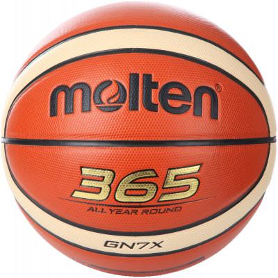 Мяч баскетбольный MoltenМаксимальный контроль! 365 all year round - подходит как для тренировок в зале, так и для игр на свежем воздухе.<br>Сезон: 2015/2016; Возраст: Взрослые; Вид спорта: Баскетбол; Тип поверхности: Универсальные; Назначение: Тренировочные; Материал покрышки: Синтетическая кожа; Материал камеры: Бутил; Способ соединения панелей: Клееный; Количество панелей: 12; Вес, кг: 0,57-0,61; Производитель: Molten; Артикул производителя: BGN7X; Срок гарантии: 2 года; Страна производства: Вьетнам; Размер RU: 7;