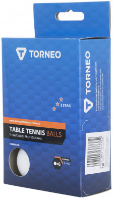 Мячи для настольного тенниса 3*** Torneo, 6 шт.
