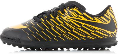 Бутсы для мальчиков Nike Bravatax II TFДетские футбольные бутсы для игры на газоне nike jr. Bravatax ii для скоростной игры и хорошего контроля мяча.<br>Пол: Мужской; Возраст: Дети; Вид спорта: Футбол; Тип поверхности: Грунт и искусственное покрытие; Способ застегивания: Шнуровка; Материал верха: 100 % синтетическая кожа; Материал подкладки: 100 % текстиль; Материал подошвы: 100 % резина; Производитель: Nike; Артикул производителя: 844440-002; Страна производства: Вьетнам; Размер RU: 32,5;