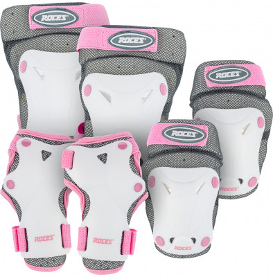 Набор защиты детский RocesНабор вентилируемой детской защиты подойдет для катания на роликах, скейтборде или самокате.<br>Возраст: Дети; Пол: Женский; Материалы: Внешний слой - 100 % полиэстер, подкладка - полиэстер, полиэтилен; велкро-липучки и крючки - 60 % нейлон, 40 % полиэстер; эластичный ремень - 80 % нейлон, 20 % резина; эластичная часть - 80 % нейлон, 20 % резина; заклепка - железо; Тип фиксации: Липучка; Вентиляция: Да; Вид спорта: Роликовые коньки; Производитель: Roces; Артикул производителя: 301352; Срок гарантии: 2 года; Страна производства: Китай; Размер RU: Без размера;
