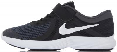Кроссовки детские Nike Revolution 4Детские кроссовки с легким верхом и амортизирующей подошвой от nike - превосходный выбор для занятий бегом.<br>Пол: Мужской; Возраст: Дети; Вид спорта: Бег; Способ застегивания: Шнуровка, Липучка; Материал верха: 58 % текстиль, 42 % пластик; Материал подкладки: 100 % текстиль; Материал подошвы: 100 % резина; Производитель: Nike; Артикул производителя: 943305-006; Страна производства: Индонезия; Размер RU: 34;