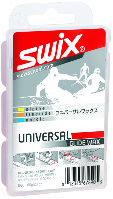 Мазь скольжения Swix Bio UniversalТвердая универсальная мазь для нанесения на скользящую поверхность лыж и сноубордов, на 100 % состоящая из углеводородного парафина. Подойдет для любого типа снега.<br>Состав: 100% углеводородный парафин.; Вес, кг: 0,089; Вид спорта: Горные лыжи; Производитель: Swix Sport AS; Артикул производителя: U60; Страна производства: Норвегия; Размер RU: Без размера;