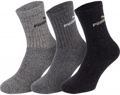 Носки Puma, 3 парыПревосходные носки от известного бренда puma для спорта. В комплект входят три пары носков.<br>Пол: Мужской; Возраст: Взрослые; Вид спорта: Тренинг; Материалы: 70% хлопок, 25% полиэстер, 3% эластоидин, 2% эластан; Производитель: Puma; Артикул производителя: 7308-207; Страна производства: Пакистан; Размер RU: 43-46;