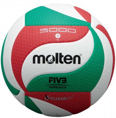 Мяч волейбольный MoltenМатчевый волейбольный мяч с технологией flistatec для более стабильной траектории полета идеально подойдет для профессиональной игры: очень мягкая синтетическая кожа; оригин<br>Сезон: 2015; Возраст: Взрослые; Вид спорта: Волейбол; Тип поверхности: Для зала; Назначение: Профессиональные; Материал покрышки: Синтетическая кожа; Материал камеры: Натуральный латекс; Способ соединения панелей: Клееный; Количество панелей: 18; Вес, кг: 0,26-0,28; Технологии: Flistatec; Производитель: Molten; Артикул производителя: V5M5000; Срок гарантии: 2 года; Страна производства: Таиланд; Размер RU: 5;