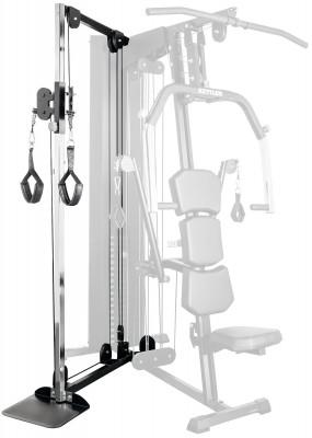 Блок с двойными тросами для Kettler Kinetic System, Module 1Дополнительный блок module 1 с двойными тросами для базовой станции kettler kinetic system. Модель подойдет для тренировки мышц ног и рук.<br>Тренируемые группы мышц: Руки, ноги; Размер в рабочем состоянии (дл. х шир. х выс), см: 166 x 194 x 215 (вместе с базовой станицией); Вес, кг: 20; Вид спорта: Силовые тренировки; Производитель: HEINZ KETTLER GMBH &amp; CO.KG; Артикул производителя: 7714-610; Срок гарантии: 2 года; Страна производства: Германия; Размер RU: Без размера;