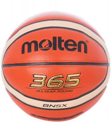Мяч баскетбольный MoltenМаксимальный контроль! 365 all year round - подходит как для тренировок в зале, так и для игр на свежем воздухе.<br>Возраст: Взрослые; Вид спорта: Баскетбол; Тип поверхности: Универсальные; Назначение: Тренировочные; Материал покрышки: Синтетическая кожа; Материал камеры: Бутил; Способ соединения панелей: Клееный; Количество панелей: 12; Вес, кг: 0,5; Производитель: Molten; Артикул производителя: BGN5X; Срок гарантии: 2 года; Страна производства: Вьетнам; Размер RU: 5;
