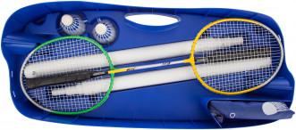 Набор для бадминтона Torneo (сетка со стойками, 2 ракетки, 2 волана, чехол)