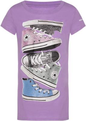 Футболка для девочек Converse Shiny Sneaker Stack Tee, размер 152 фото