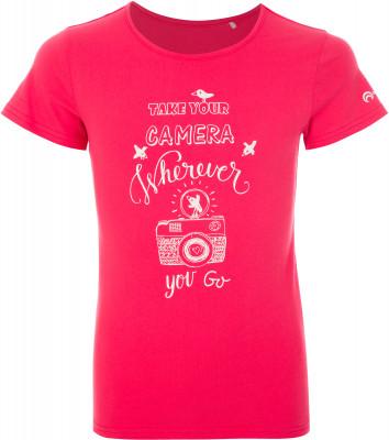 Футболка для девочек Outventure, размер 140Футболки и майки<br>Практичная футболка для девочек от outventure пригодится в путешествии. Натуральные материалы ткань, выполненная из натурального хлопка, обеспечивает комфорт и воздухообмен.