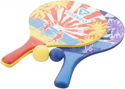 Набор для пляжного бадминтона TorneoНабор для пляжного бадминтона с деревянными ракетками. Поролоновый и резиновый мячи в комплекте позволяют играть как взрослым, так и детям.<br>Размеры (дл х шир х выс), см: Толщина ракеток: 7,5 мм; Вес, кг: 0,215-0,245; Состав: Ракетка: дерево, полипропилен; мяч: поливинилхлорид; Вид спорта: Игры на улице; Производитель: Torneo; Артикул производителя: TRNM0071HL; Срок гарантии: 1 год; Страна производства: Китай; Размер RU: Без размера;