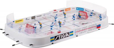 Настольный хоккей Stiga Play OffНастольный хоккей решающий матч с символикой спортмастер! Официальная игра чемпионата мира по настольному хоккею. Возможность игры клюшкой и коньком.<br>Размер в собранном виде (д х ш х в): 97,5 x 51 x 9; Вес, кг: 3,2; Размер игрового поля (д х ш): 82 x 44; Состав: 95 % полистирол, 5 % сталь, 5 % резина; Наличие игроков: Да; Количество игроков: 3 команды по 6 игроков; Вид спорта: Настольный хоккей; Наличие шайб: Да; Количество шайб: 2; Производитель: Stiga; Артикул производителя: 71-1143-70; Срок гарантии: 1 год; Страна производства: Литва; Размер RU: Без размера;