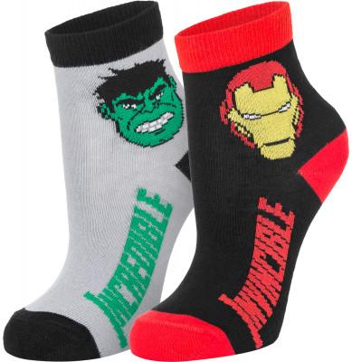 Носки для мальчиков Demix, 2 парыСтильные носки для мальчиков мстители marvel. Изделие обеспечивает удобную посадку, легко пропускает воздух. В комплекте 2 пары.<br>Пол: Мужской; Возраст: Дети; Вид спорта: Спортивный стиль; Материалы: 68 % хлопок, 30 % полиамид, 2 % эластан; Производитель: Demix; Артикул производителя: DAW17BX92L; Страна производства: Россия; Размер RU: 31-34;
