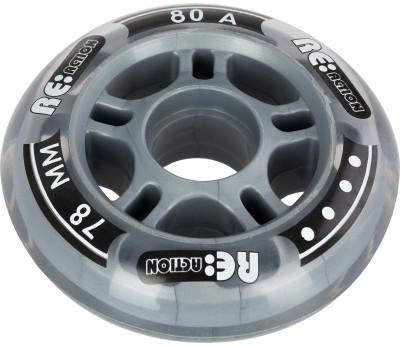 Набор колес для роликов REACTION 78 мм, 80А, 4 штНабор колес reaction 78 мм 80а - размер и жесткость идеально подходят для фитнес-катания.<br>Материалы: Полиуретан, пластик; Диаметр: 78 мм; Вес, кг: 0,25; Вид спорта: Роликовые коньки; Производитель: REACTION; Артикул производителя: RW78\80; Срок гарантии: 6 месяцев; Страна производства: Китай; Размер RU: Без размера;