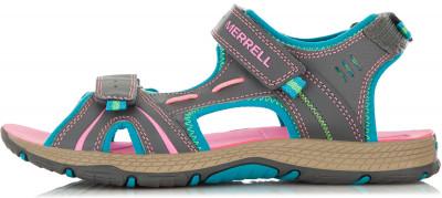 Сандали для девочек Merrell Panther, размер 30Водный туризм <br>Детские сандалии от merrell станут отличным выбором для водного туризма. Быстрое высыхание быстросохнущая подкладка выполнена из сочетания сетки и элементов из неопрена.