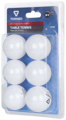 Мячи для настольного тенниса Torneo 1-Star, 6 шт.Набор мячей для настольного тенниса, соответствующий всем современным параметрам и требованиям к данному виду изделиям: диаметр - 40 мм; количество звезд - 1; белый цвет.<br>Состав: Пластик; Вид спорта: Настольный теннис; Производитель: Torneo; Артикул производителя: TBWPL200; Страна производства: Китай; Размер RU: Без размера;